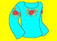Заготовка  под вышиванку (Креп-сатин) синего цвета под вышивку нитками или бисером