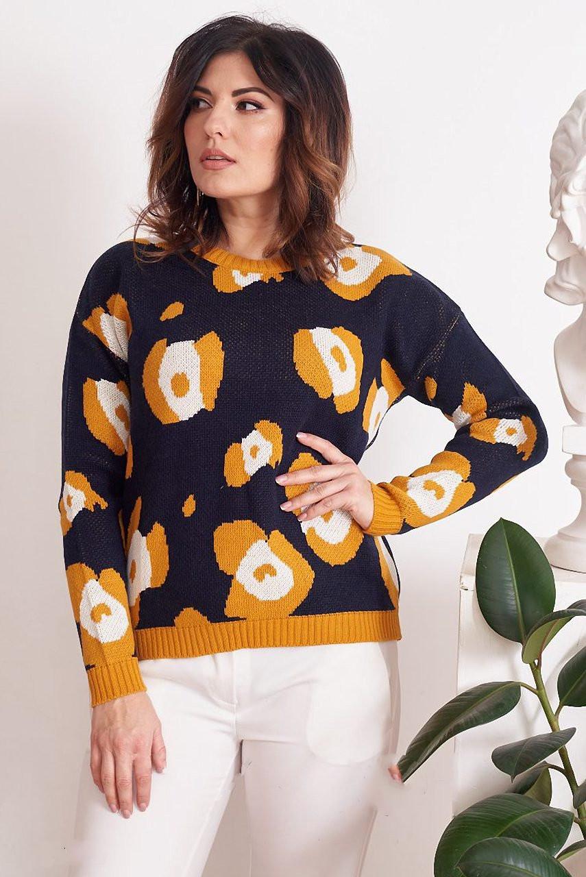 Женский шерстяной свитер Лео батал со стилизованым леопардовым принтом