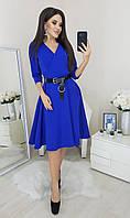 Изящное платье с кожаным поясом