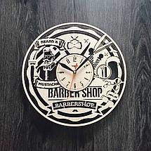 Дизайнерские настенные часы из дерева 7Arts Мужская парикмахерская CL-0005, фото 2