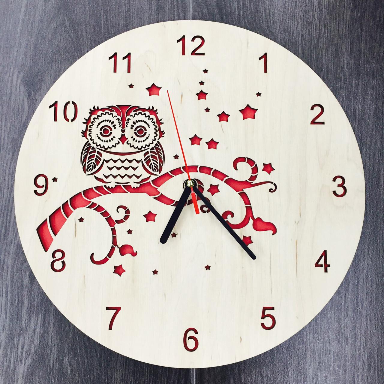Деревянные часы ручной работы 7Arts Сова CL-0127