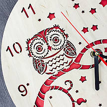Деревянные часы ручной работы 7Arts Сова CL-0127, фото 3