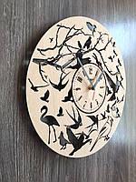 Круглые настенные часы из дерева 7Arts Птички CL-0154