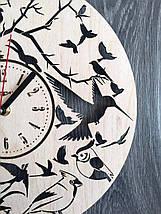 Круглі настінні годинники з дерева 7Arts Пташки CL-0154, фото 2