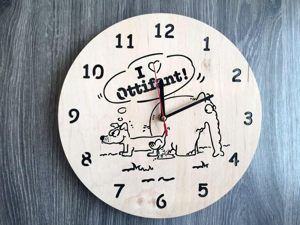 Хендмейд годинник з дерева 7Arts Слоник Оттифантен CL-0160