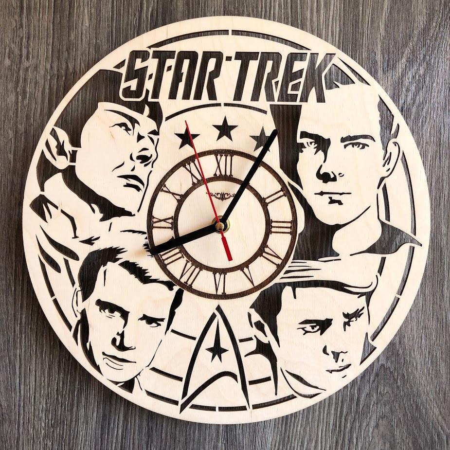 Оригинальные настенные часы из дерева Star Trek CL-0295