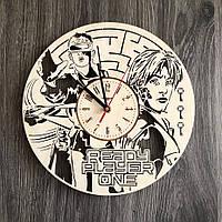 Круглые бесшумные настенные часы из дерева Волчонок CL-0300