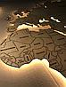 Деревянная карта Мира с LED подсветкой и гравировкой 120х70 см, фото 2