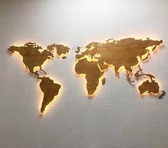 Деревянная карта Мира с LED подсветкой 150х90 см, фото 3