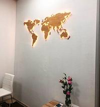 Дерев'яна карта Світу з LED підсвічуванням 125х70 см, фото 2
