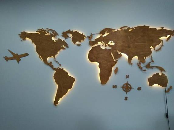 Деревянная карта Мира с LED подсветкой 120х70 см, фото 2
