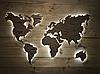 Деревянная карта Мира с холодной LED подсветкой и гравировкой 170х100 см, фото 4