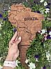 Деревянная карта Мира с холодной LED подсветкой и гравировкой 170х100 см, фото 5