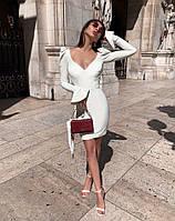 Платье женское короткое  из трикотажа облегающее с глубоким декольте (К29377), фото 1