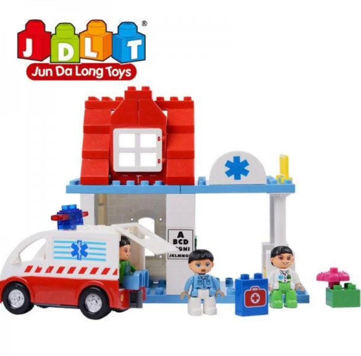 """Конструктор JDLT 5173 (Аналог Lego Duplo) """"Пункт скорой помощи"""" 56 деталей со светом и звуком"""