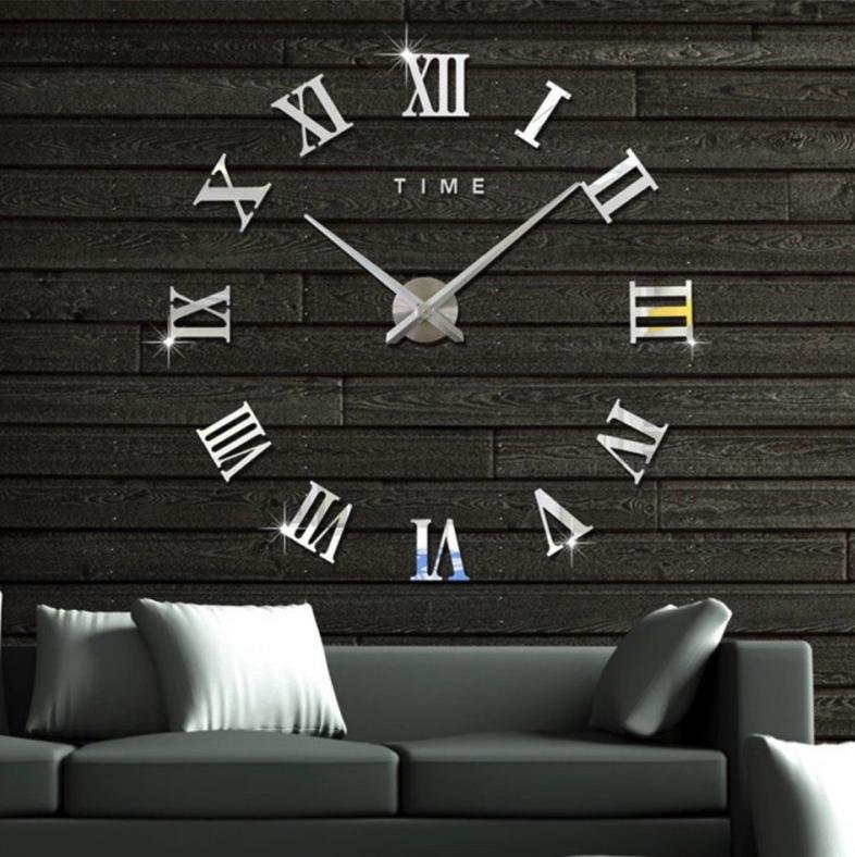 Великі дзеркальні годинник Римські цифри Silver