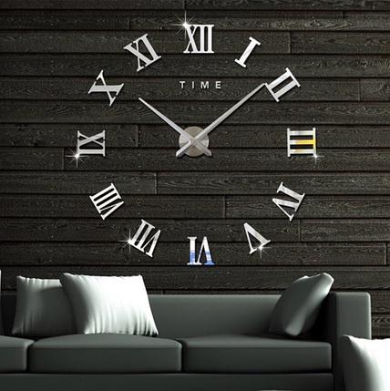 Великі дзеркальні годинник Римські цифри Silver, фото 2