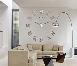 Великі дзеркальні годинник Римські цифри Silver, фото 3