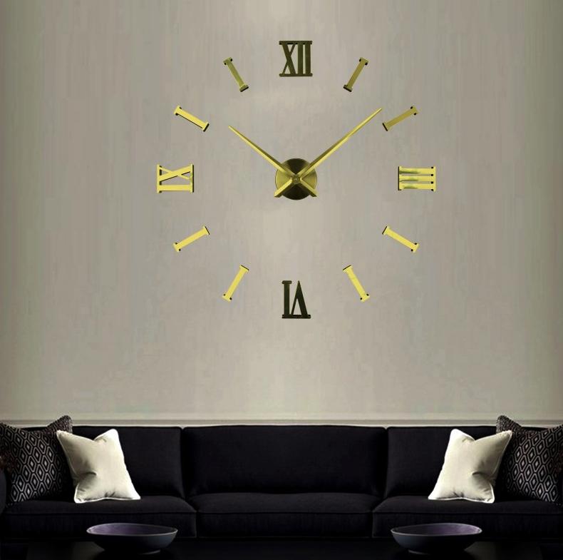 Великі настінні годинники Римські смуги Gold