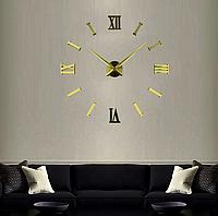 Большие настенные часы Римские полосы Gold