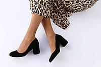 Женские черные туфли на устойчивом каблуке
