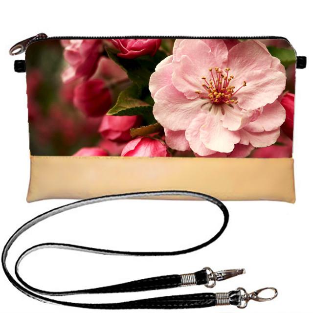 Клатч Moderika Lady бежевый с рисунком Розовый цветок (44180)