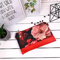Клатч Moderika Lady красный с рисунком Цветок розовый (44179)