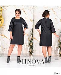 Платье женское большой размер №1739-черный 48 50 52 54 56 58 60р.