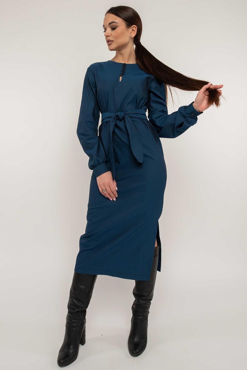 Строгое платье миди с разрезом Fabian (42–52р)