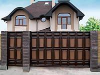 Откатные ворота из металлической филёнки
