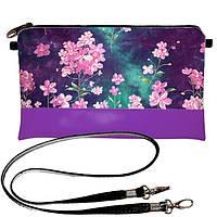 Клатч Moderika Lady фиолетовый с рисунком Цветочки (44369)