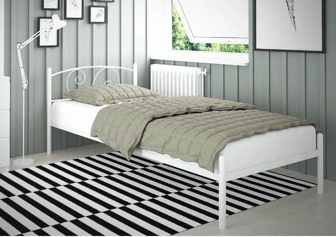 Односпальная кровать Виола-мини Tenero 80х190 см с изголовьем на ножках металлическая