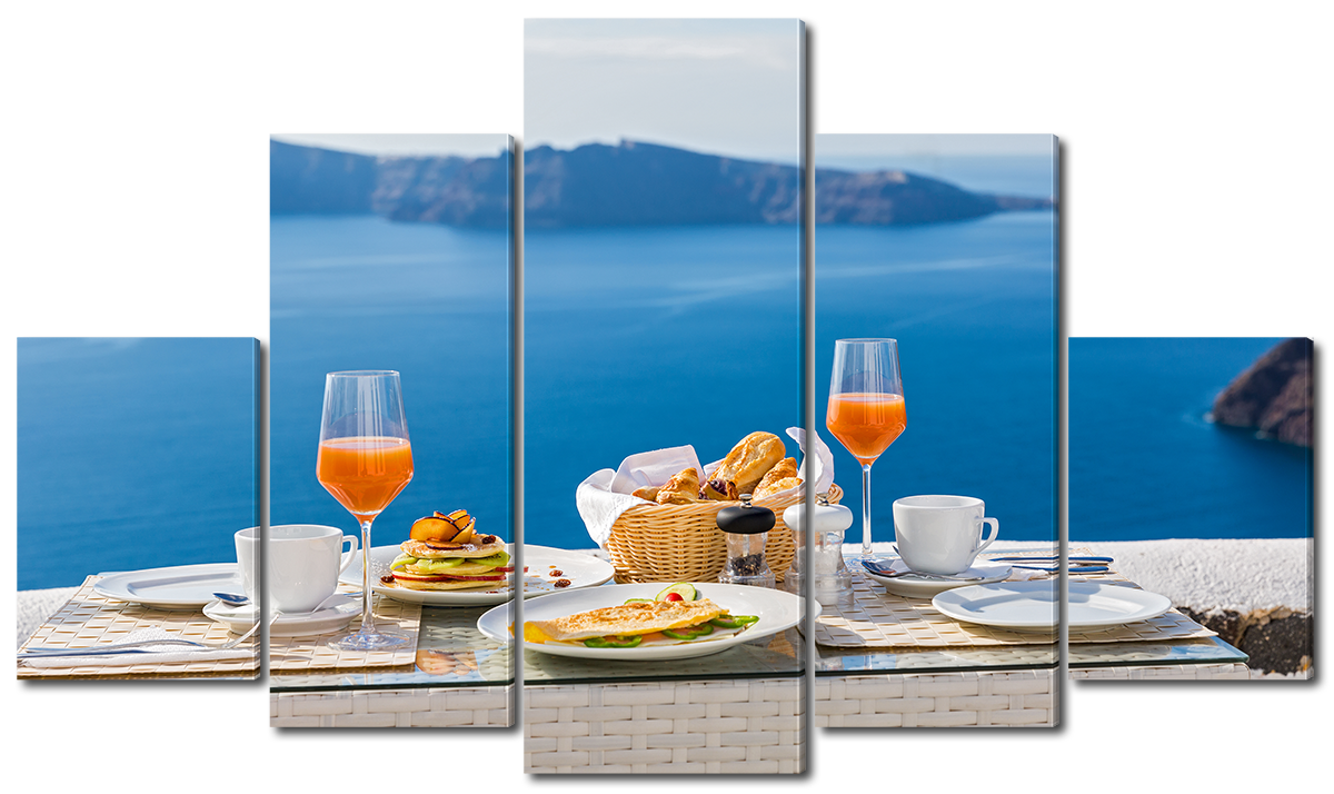 Модульная картина Interno Эко кожа Завтрак у океана  123х69см (A5824M)