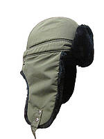 Теплая шапка на флисе с искусственным мехом