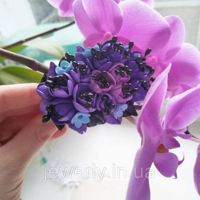 Фиолетово сиреневый браслет из полимерной глины с цветами