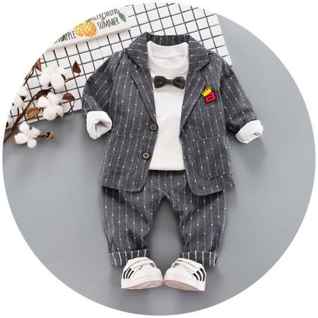 Нарядный костюм тройка на мальчика  джентельмен с бабочкой серый 1 год
