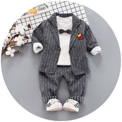 Нарядный костюм тройка на мальчика  джентельмен с бабочкой серый 1 год, фото 2