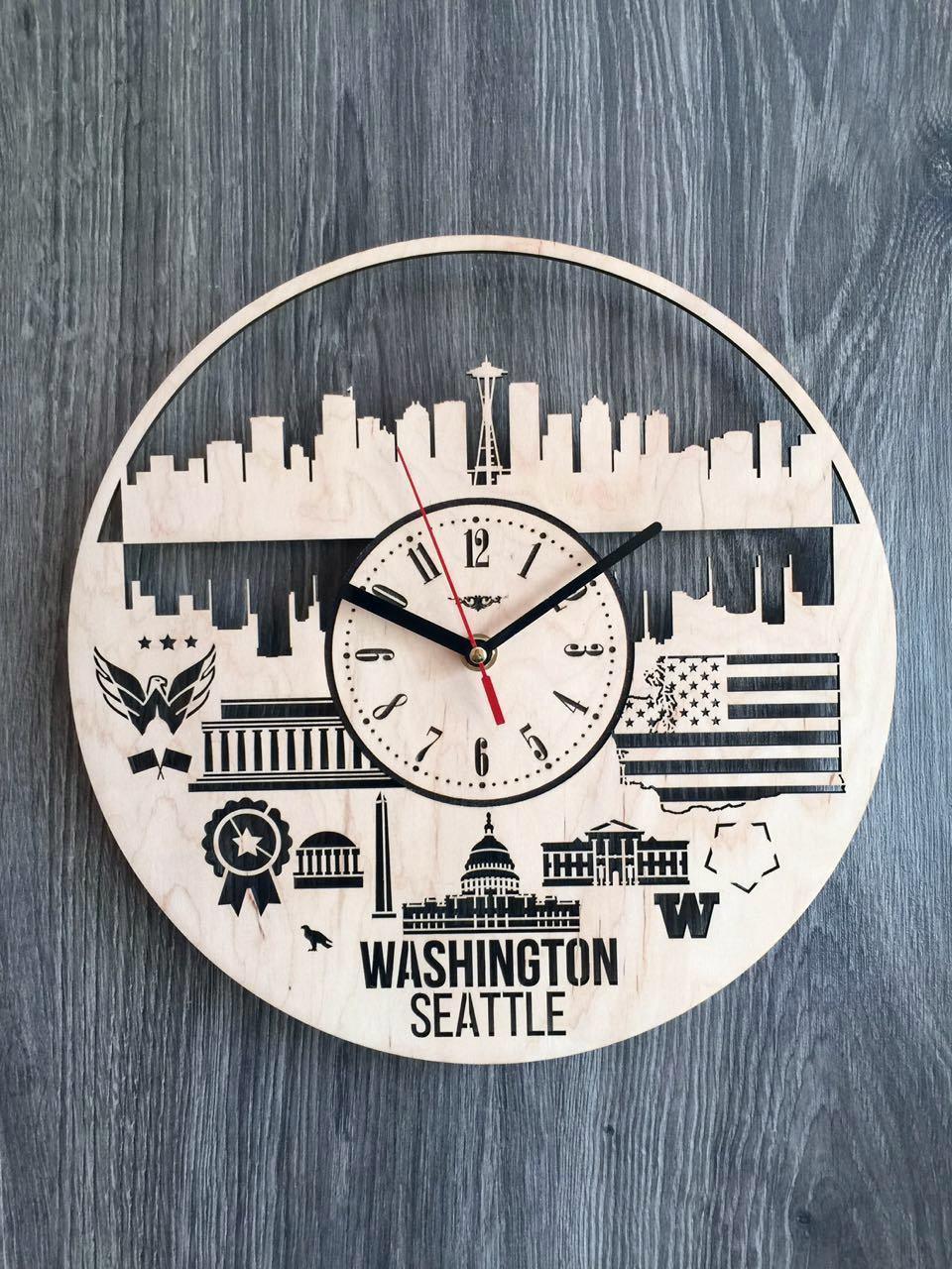 Дизайнерські годинники на стіну 7Arts Сіетл, Вашингтон CL-0143
