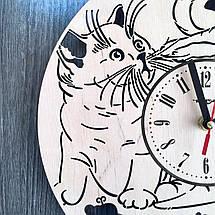 Універсальні настінні годинники з дерева 7Arts Пухнасті котики CL-0155, фото 3
