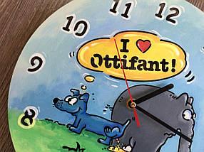 Кольорові хендмейд годинник з дерева 7Arts Слоник Оттифантен CL-0161, фото 2