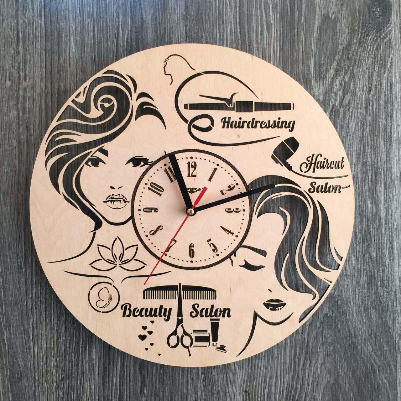 Настінні годинники з дерева в жіночий салон краси 7Arts CL-0173