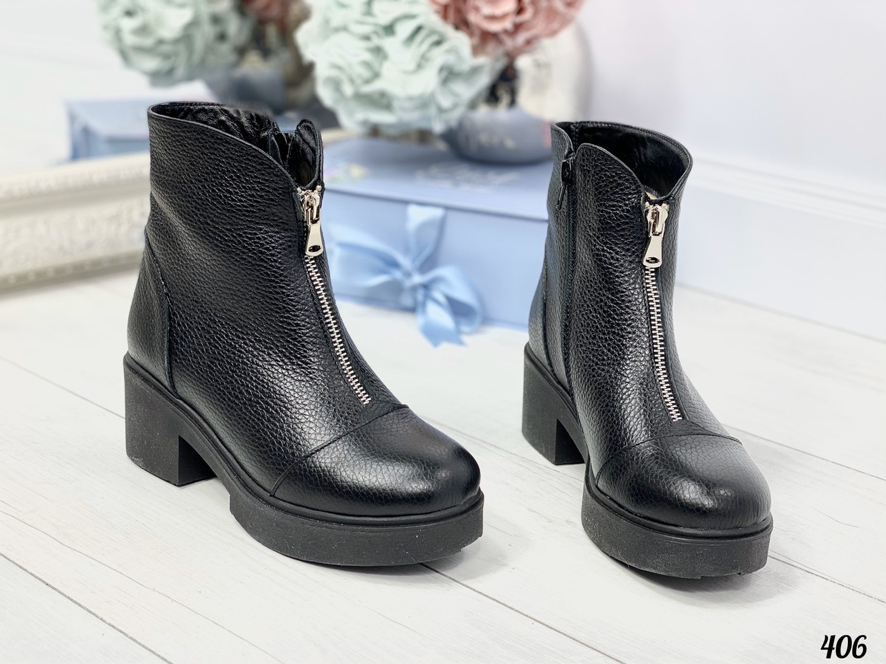 36 р. Ботинки женские зимние черные кожаные на среднем каблуке, из натуральной кожи, натуральная кожа