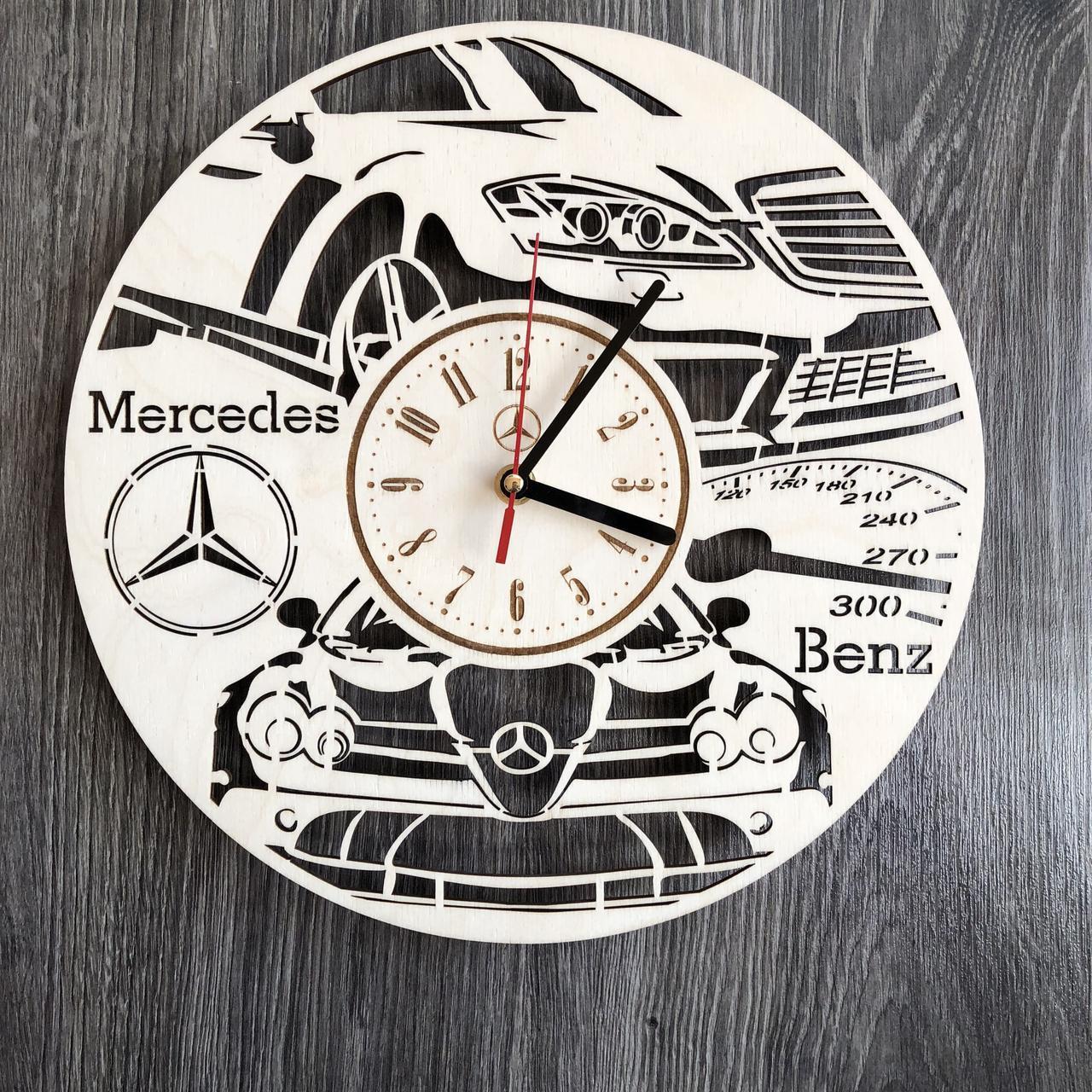 Стильні годинники з дерева настінні Mercedes-Benz CL-0235