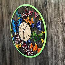 Кольорові настінні годинники з дерева Вальс метеликів CL-0254, фото 2