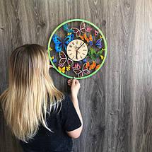 Кольорові настінні годинники з дерева Вальс метеликів CL-0254, фото 3
