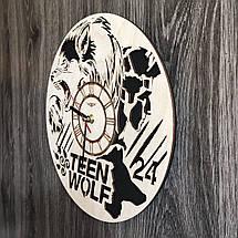Круглые бесшумные настенные часы из дерева Волчонок CL-0259, фото 2