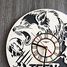 Круглые бесшумные настенные часы из дерева Волчонок CL-0259, фото 3