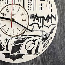 Настенные часы из дерева с плавным ходом Бэтмен CL-0260, фото 3