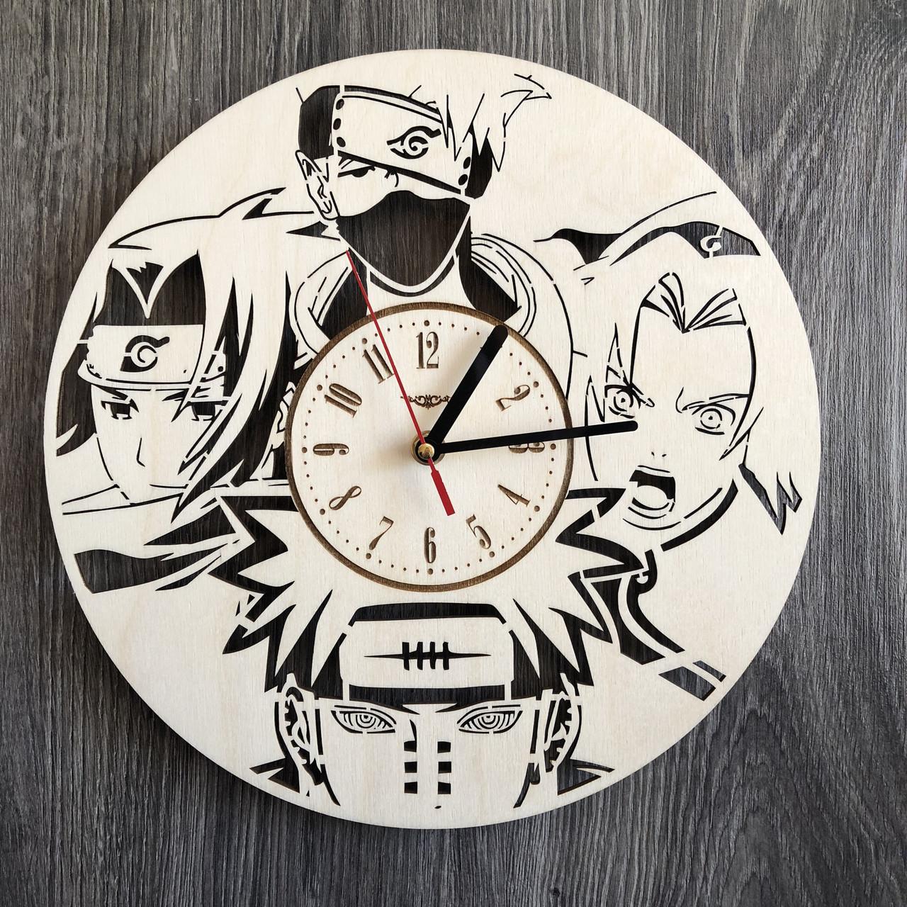 Настінні годинники з дерева за мотивами аніме Наруто CL-0263