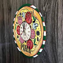 Деревянные цветные настенные часы из дерева Пицца CL-0266, фото 2